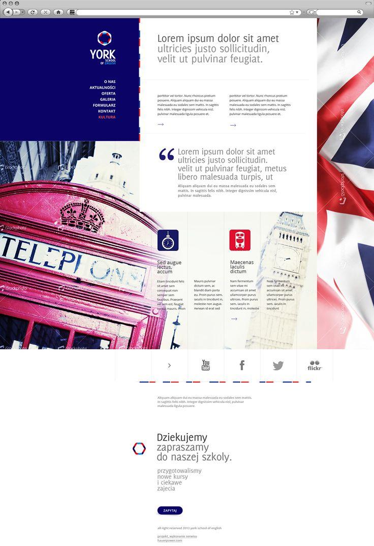 webdesign for english school. projekt strony internetowej w oparciu o układ pionowy z wykorzystaniem dużego zdjęcia w tle oraz ikon związanych z Londynem. Z racji angielskiego charakteru szkoły wykorzystane dodatkowo elementy flagi oraz dopasowana kolorystyka