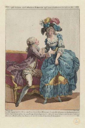 """""""La belle engagee par les discours touchans et les tendres sollicitations d'un aimable Séducteur et plus frappee encore a l'aspect d'un ecrin rempli de bijoux qu'il lui presente est prète a se rendre; son coeur balance entre l'amour, l'intérêt et la vertu; elle est coëffee d'un chapeau à la Henry IV, et vetue d une robe a la Marguerite"""", Gallerie des Modes, 1785; MFA 44.1623"""