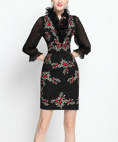 Black Ruffle Yoke Sheath Dress #zulily #zulilyfinds
