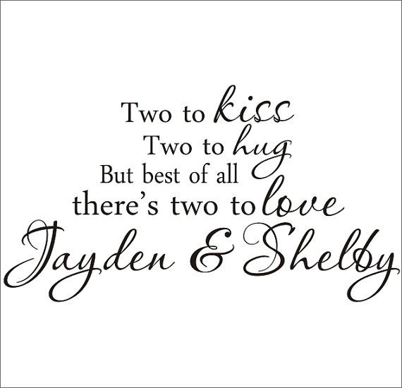 Twins Vinyl Wall Decal Large Nursery Bedroom Two to Kiss Two to Hug Housewares Twins on Etsy, $32.00