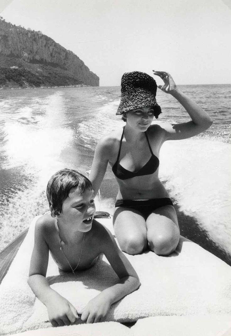 Romy Schneider and her son David, circa 1977
