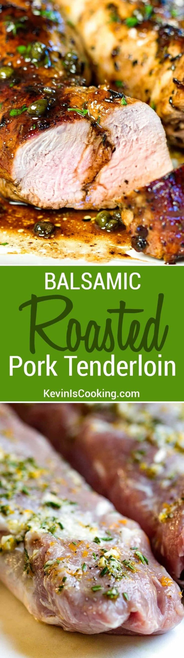 This Balsamic Roast Pork Tenderloin looks like you spent a lot of time on it, but it's on the table in 35 minutes. A spot on Italian inspired dinner. via @keviniscooking