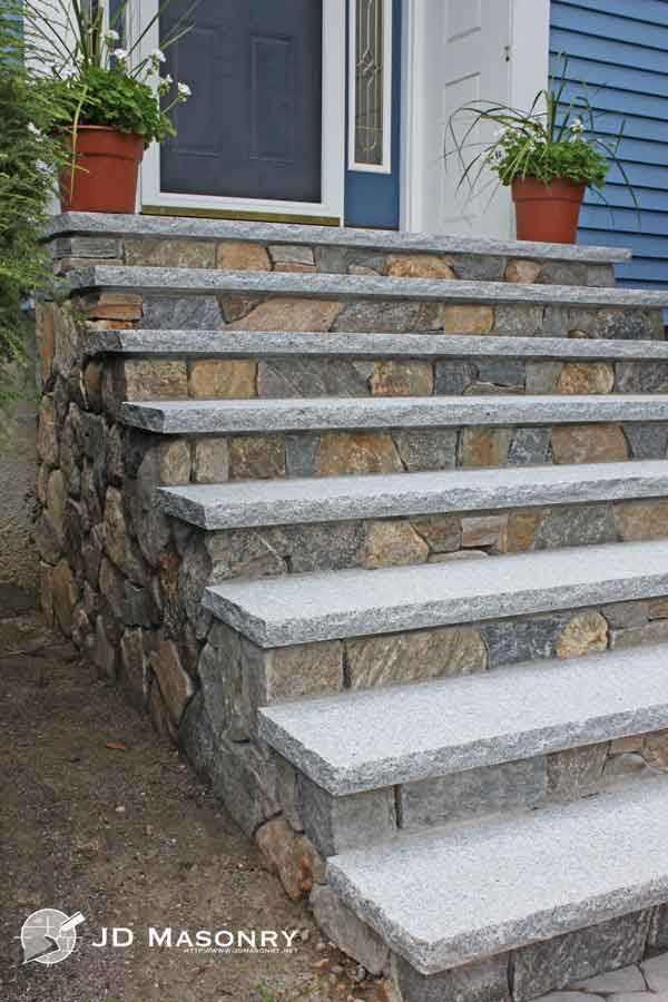 Jd masonry stone granite steps front steps pinterest for Exterior stone stairs design