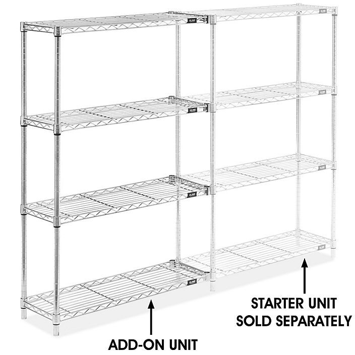 Chrome Wire Shelving Add On Unit 36 X 12 X 54 H 2936 54a Uline Wire Shelving Shelving The Unit