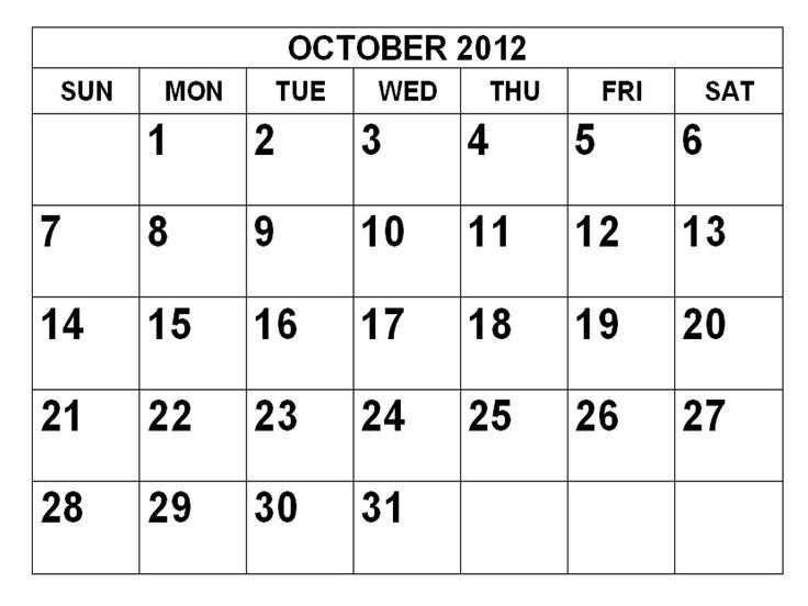 fre printable calendar october 2012