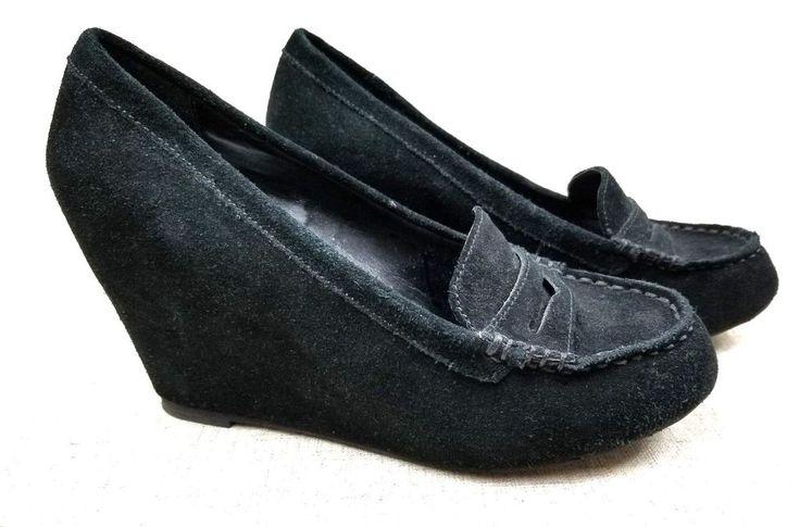 DOLCE VITA Black Suede Wedge Heels Penny Loafers Shoes sz 7.5M #DolceVita #PlatformsWedges