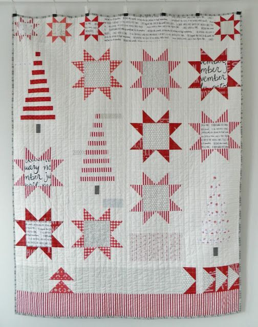modern Christmas Quilt - trees and stars