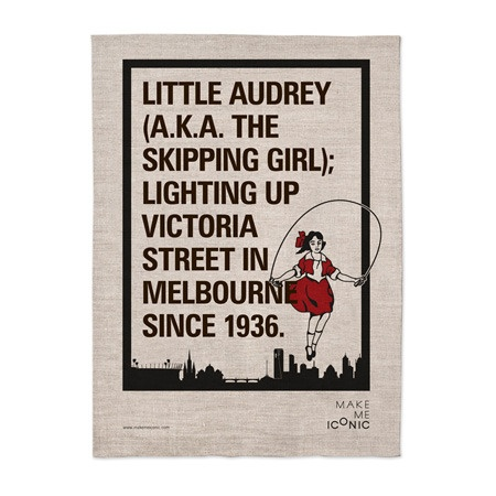 Iconic Melbourne: Skipping girl vinegar 100% linen tea towel, by Make Me Iconic $25