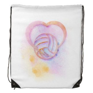 Volleyball Heart Watercolor Splatter Drawstring Backpacks