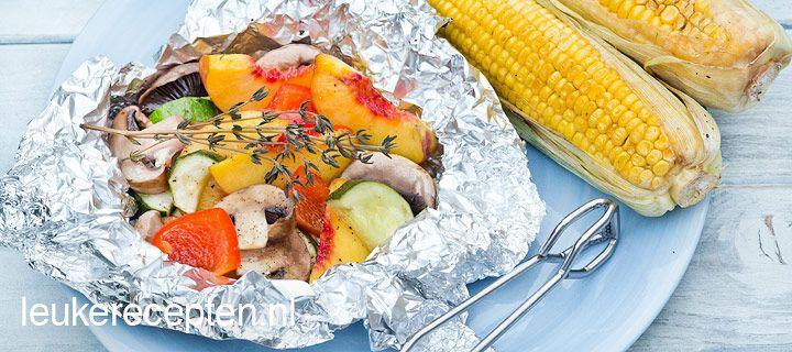 BBQ groentepakketje met perzik
