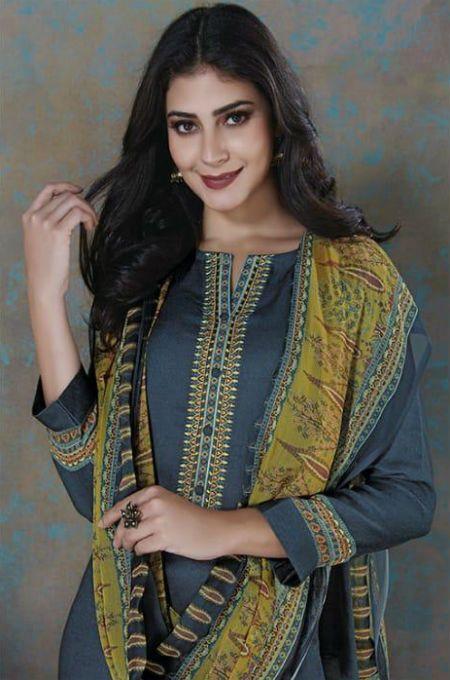 80ec46bdfc Sudriti Sweetpea Pashmina Twill Print Designer Salwar Suit 530 ...