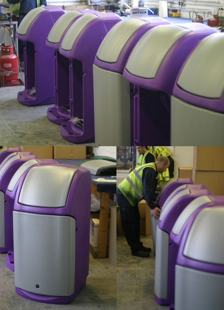 An order of specially coloured Combo™ catering waste bins being assembled.