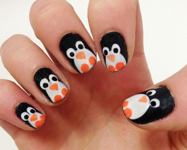 Christmas penguin nail art, very easy to do islaay.com