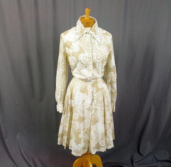 1970s Coco of California Dress, Beige and White Dress, Summer Dress, Full Skirt Dress, Floral Dress, Wedding Dress