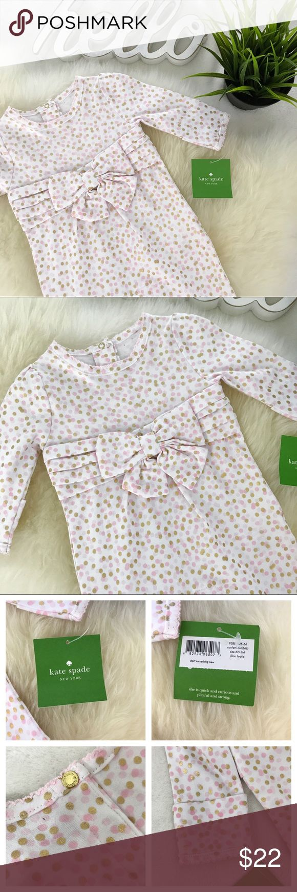 "KATE SPADE Confetti Dot Jillian footie baby onesie New with tag. 3 Month size There is a very small hole at the back of the neck where security sensor was attached-see phot #4 and #7 Super cut pink and metallic gold polka dot print. Foldover mitten hands Last image is stock for reference, all others are actual piece for sale.  Chest 9"" Length aprox 19""  Review all photos thoroughly Feel free to ask questions   📎Measurements are approximate  ✏️Save 15% on bundles of 3 or more 👍🏻Reasonable…"