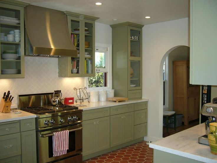 Green kitchen, Green kitchen cabinets and Kitchen cabinets on
