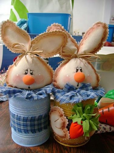 Recycled painted cans, gives instructions and pattern for bunny head and nose, cute idea and lots of other ideas on this site.
