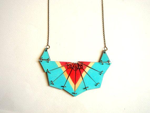 Blue Geometric Necklace, Wood Triangles Bib,Wood Tribal Necklace,Geometric Jewelry on Etsy, $32.00