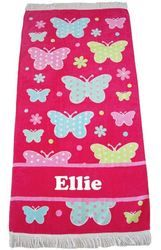 This is a great towel to take to the beach or to use for bathtime. Super soft with a fringe - just perfect. All personalised and butterflies ready to wrap you up  http://teddybearsandgifts.com.au/beach-towel-butterfly-pink/