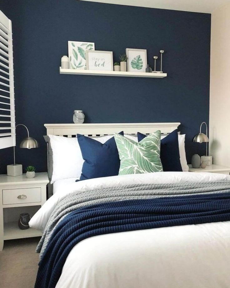 Blue Feature Wall Bedroom, Yellow Bedroom Paint, Navy Blue Bedrooms, Best Bedroom Paint Colors, Blue Master Bedroom, Gray Bedroom Walls, Blue Bedroom Decor, Home Bedroom, Guest Bedroom Colors
