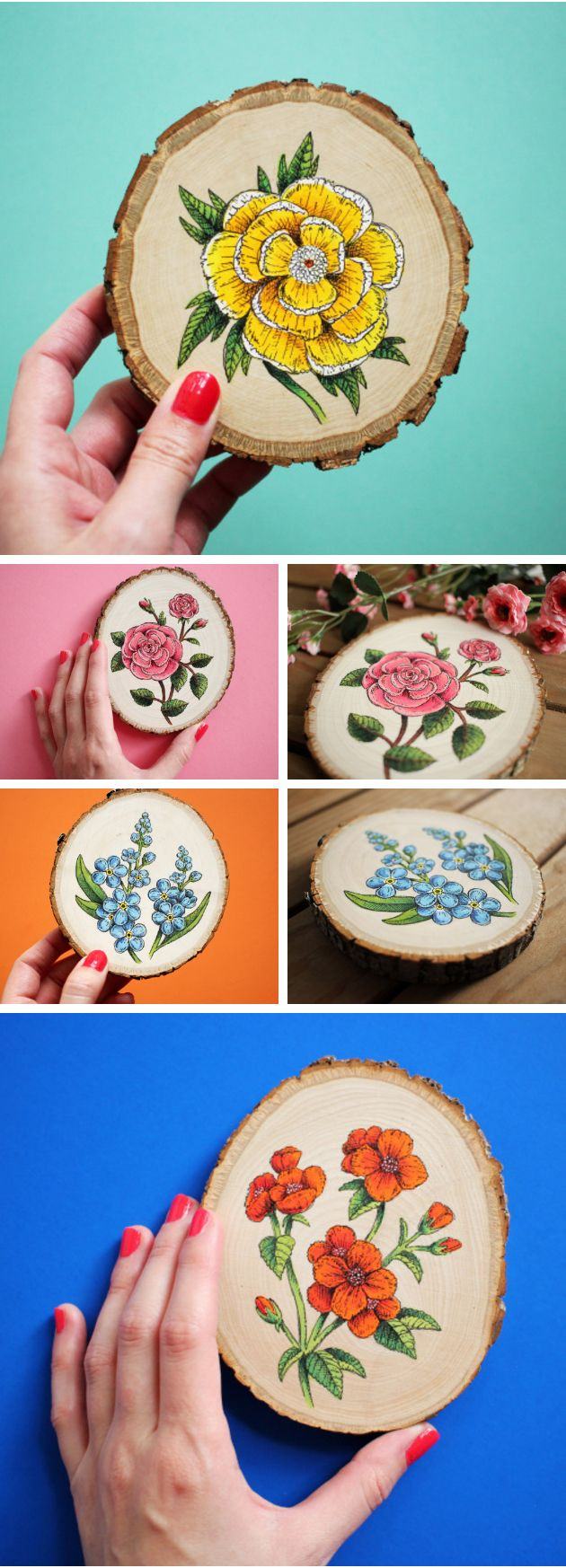 Etching-Inspired Flowers Painted on Wood Slices