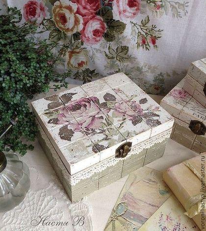 Paris rose - винтаж,шкатулки,хранение,плитка,розы,Париж,набор,подарок