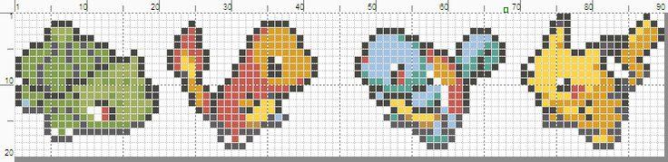 Pokemon banner pattern with starters and Pikachu by starrley.deviantart.com on @deviantART