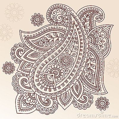 Henna Tattoo Flower Paisley Doodle Vector Design