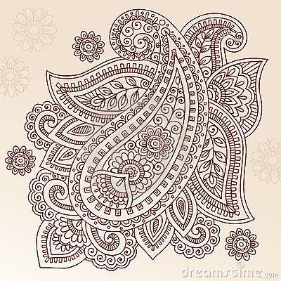 Disegno Di Vettore Di Doodle Di Paisley Del Fiore Del Tatuaggio Del Hennè