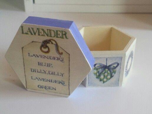 small decoupage lavander box