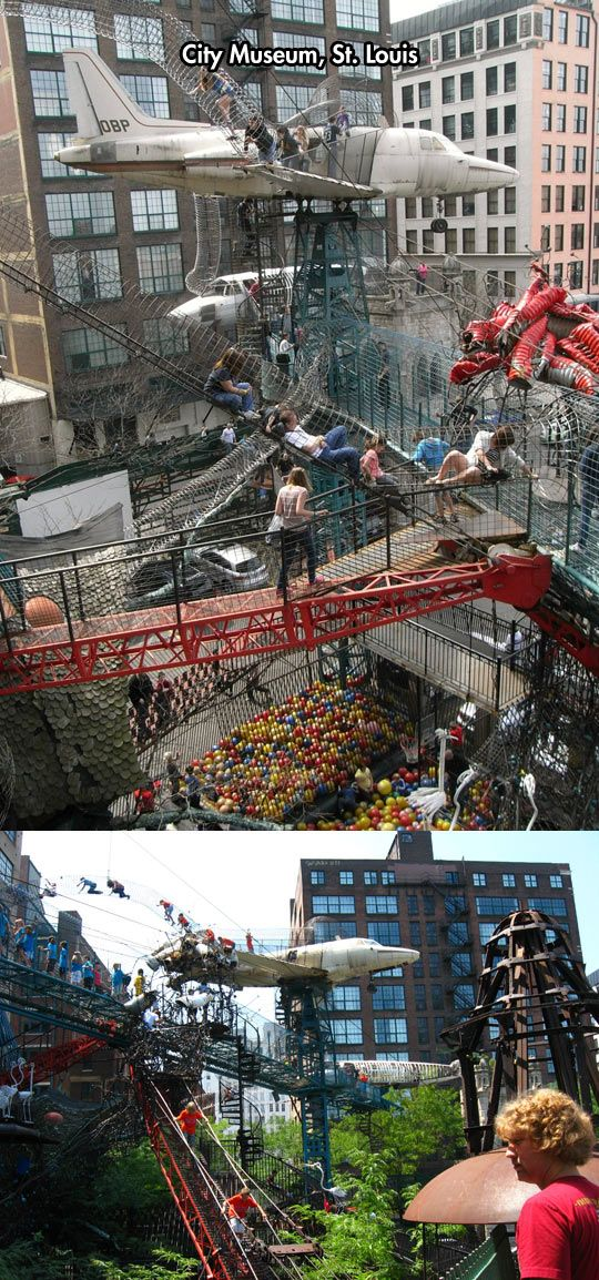 A Playground For Grown Ups - MonstroCity at the St. Louis City Museum in Missouri;  Visitors can crawl through a series of wire tubes and explore the interior of two planes.   ...I have to agree with someone who commented about this place:  really cool, but a fire marshall's nightmare...