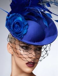 """Crystal"" Royal Blue Fascinator Hat by Arturo Rios"