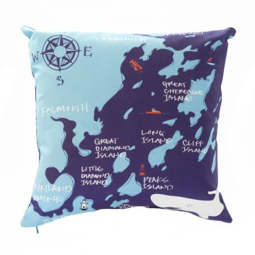 A bite of the beloved shore line of the state of Maine: Casco Bay with the names' of the major islands. 18x18 pillow with or without down-feather insert. Order now: http://troskodesign.com/shop/throw-pillow-casco-bay-made-in-maine/