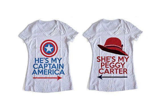 Captain America & Peggy Carter | Shirt Templates | Couple Shirts