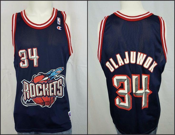 f4ea5dc77 ... Best Discount Houston Rockets Hakeem Olajuwon 34 Champion Vintage 90s  NBA Jersey Size 44 Nike Mens ...
