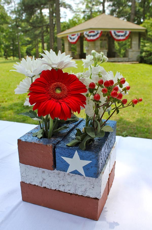4th of July Flowers for the table. These won't fall over or blow away.