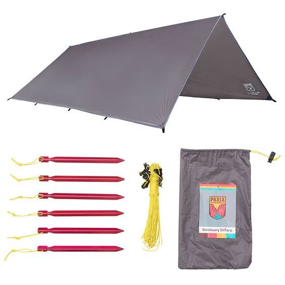 Sanctuary SilTarp - 10 foot x 8 foot Ultralight and Waterproof Ripstop Silnylon Rain Shelter Tarp, Guy Line and Stake Kit - Perfect for Hammocks, Camping and Backpacking * You can get more details by clicking on the image.