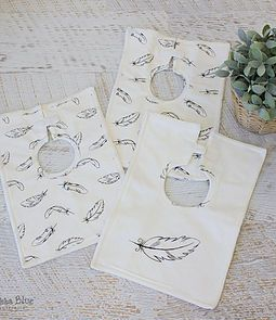 Organic baby bibs - Feathers from Bubba Blue Square Baby Bibs