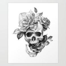 Cráneo y rosas en blanco y negro Lámina