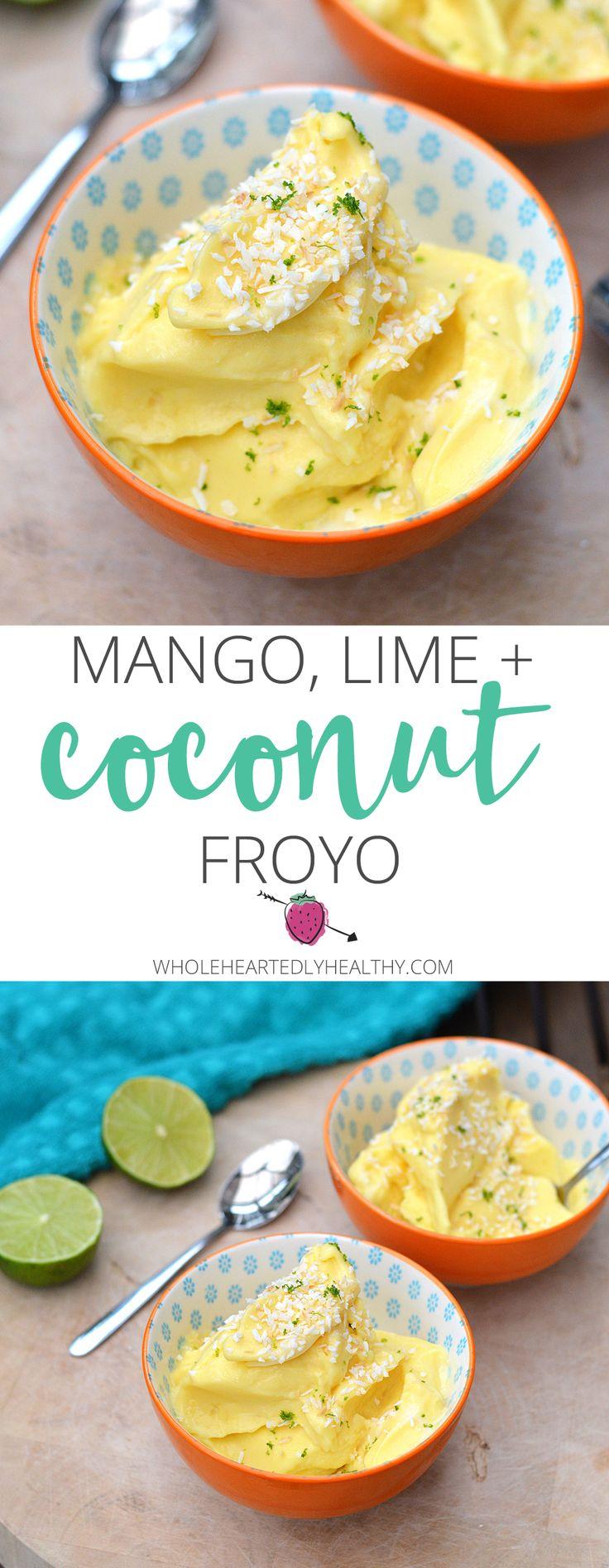 Mango, Lime and Coconut Frozen Yoghurt, perfect healthy summer dessert!