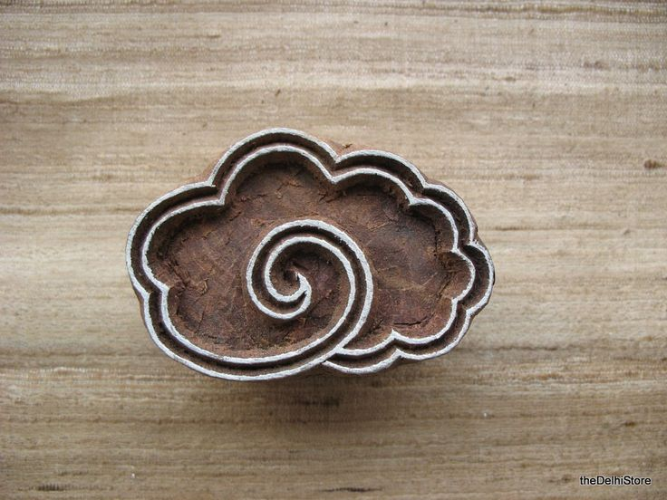 Cloud Stamp Hand Carved Wodden Stamp for Paper Textile (8.00 USD) by theDelhiStore