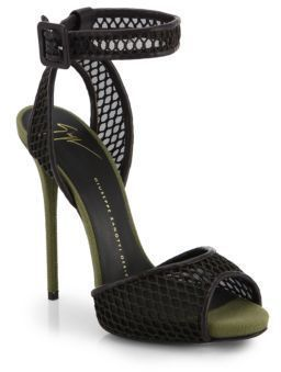 6463d1f4d $815, Black Mesh Heeled Sandals: Giuseppe Zanotti Mesh Canvas Sandals. Sold  by Saks