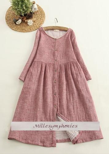 Abito-a-tunica-cotone-lino-vintage-sovrapposizione-antico-Mori-Girl-boemo