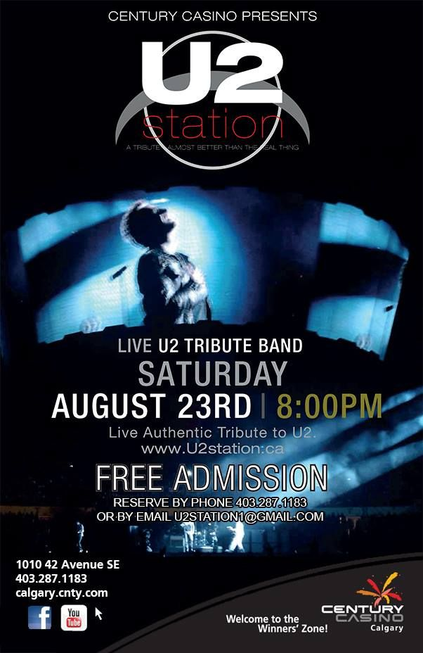 U2 Station brings there authentic LIVE U2 tribute to @CenturyCasinoCa on Saturday Aug 23rd! DOORS 8pm **FREE SHOW**