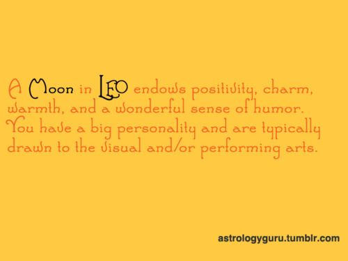 Moon in Leo - Arts, absolutely. And yes, I can be bit of a domestic diva from time to time.
