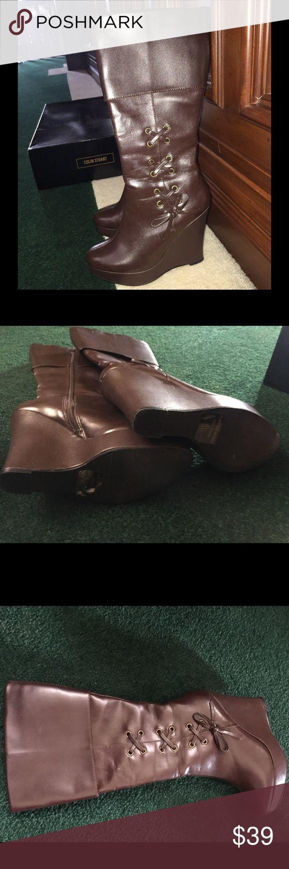 NWT Vegan leather Colin Stuart - zip wedge boots NWT Dark Chocolate Brown Vegan leather Colin Stuart - zip wedge boots Colin Stuart Accessories