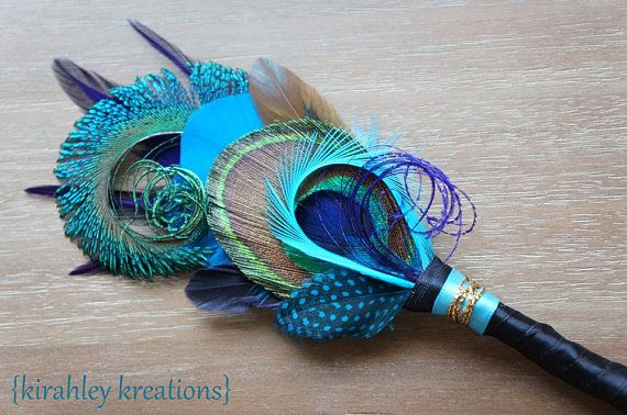 Peacock Feather Smudge Wand, Smudge Fan, Ceremonial, Spiritual, Ritual, Cleansing, Feathered Fan, Healing Magick  Made to Order Customizable