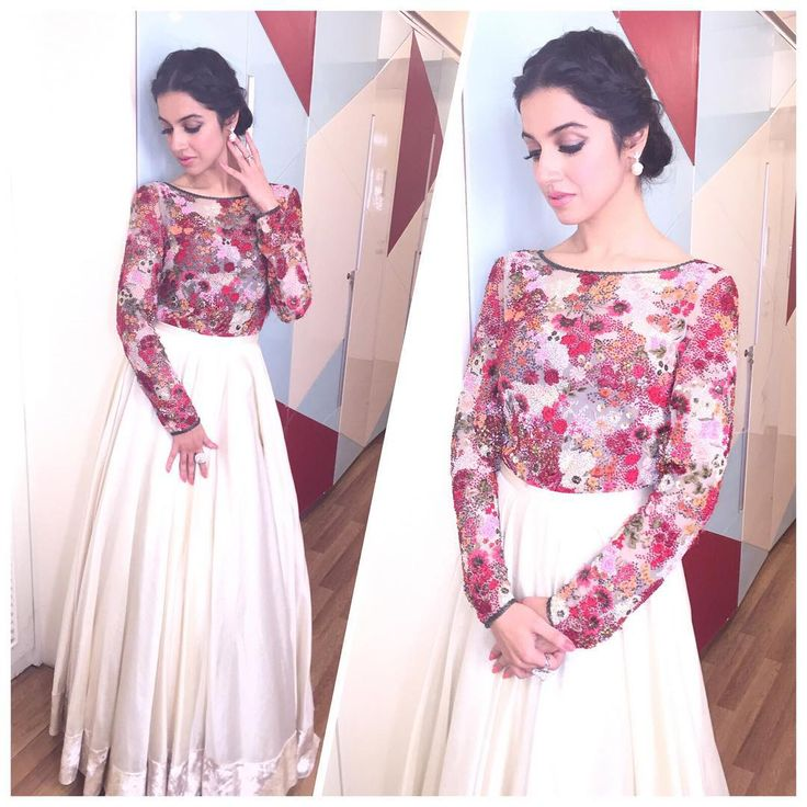 The beautiful Divya Kumar Khosla in our embroidered net body and skirt.