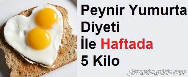 Yumurta Ve Peynir Diyeti İle 1 Haftada 5 Kilo - http://www.bizkadinlaricin.com/yumurta-ve-peynir-diyeti-ile-1-haftada-5-kilo.html  Yumurta en ucuz ve en sağlıklı protein kaynağıdır. Yumurta ve peynir ile ketojenik diyet makalemizde 1 haftada 5 kilo verdiren diyet listesi yayınladık. 1. Gün Kahvaltı Kahve veya çay tereyağlı 2-3 yumurta Ara Öğün 1 dilim dil peyniri Öğle Yemeği 1 dilim dil peyniri Yarım su bardağı yumurtalı salata Ara Öğün 1 dilim di