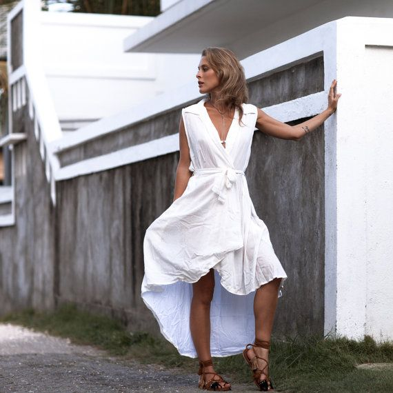 Wrap Dress  The Charlie Dress White Wrap around by ljcdesignss